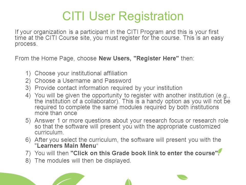 CITI User Registration