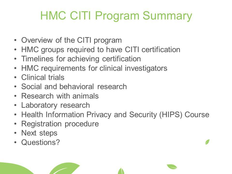 HMC CITI Program Summary