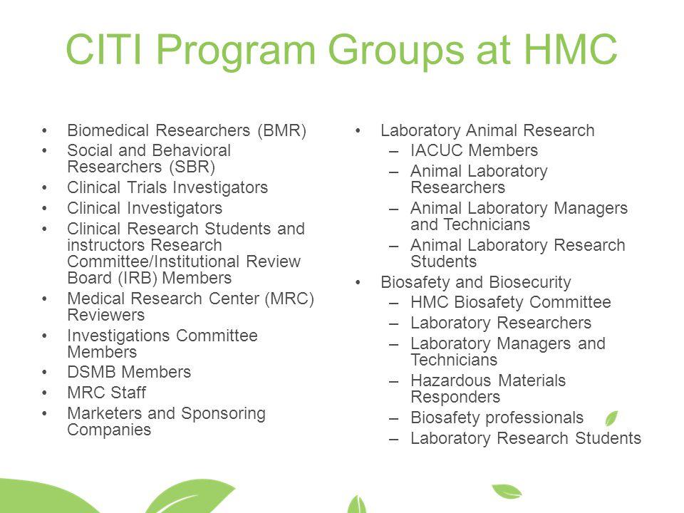 CITI Program Groups at HMC