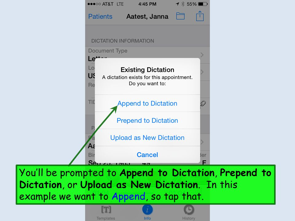 You'll be prompted to Append to Dictation, Prepend to Dictation, or Upload as New Dictation.