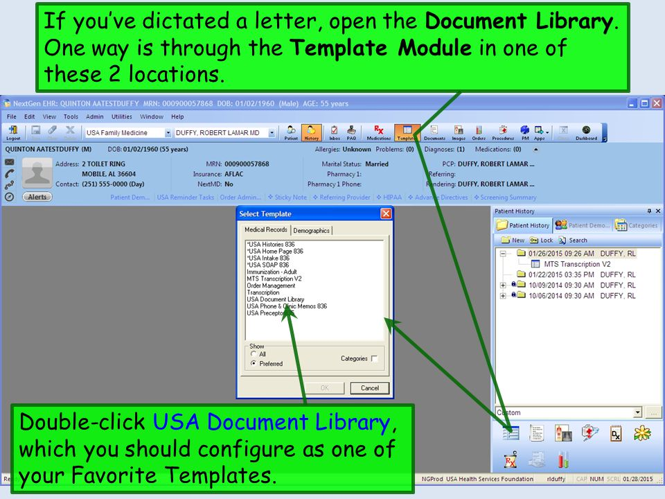 If you've dictated a letter, open the Document Library