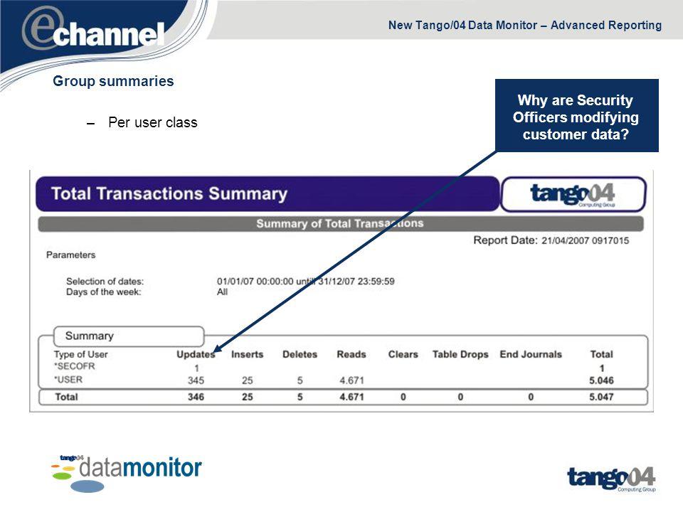 New Tango/04 Data Monitor – Advanced Reporting