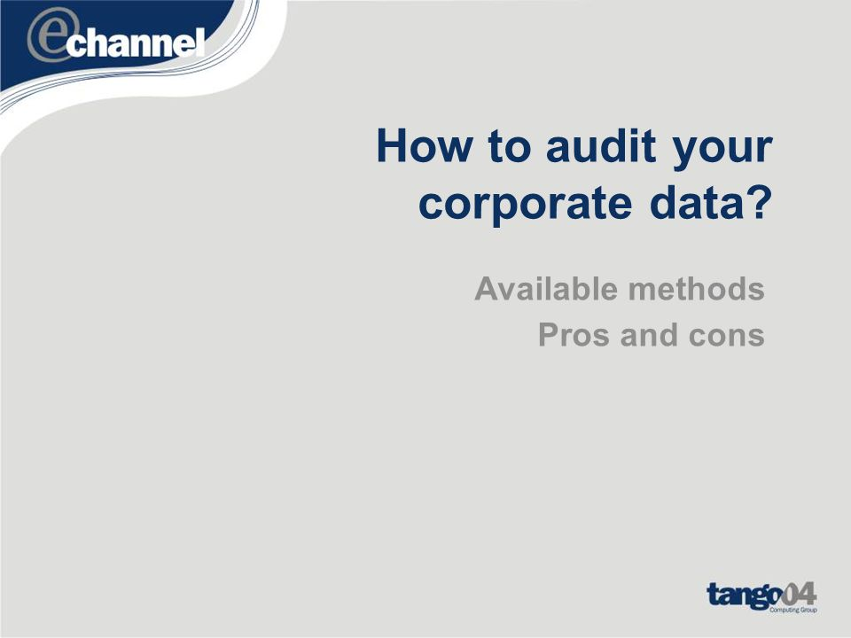 How to audit your corporate data