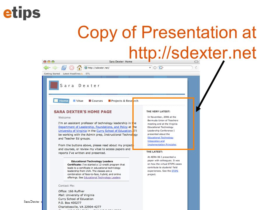 Copy of Presentation at http://sdexter.net