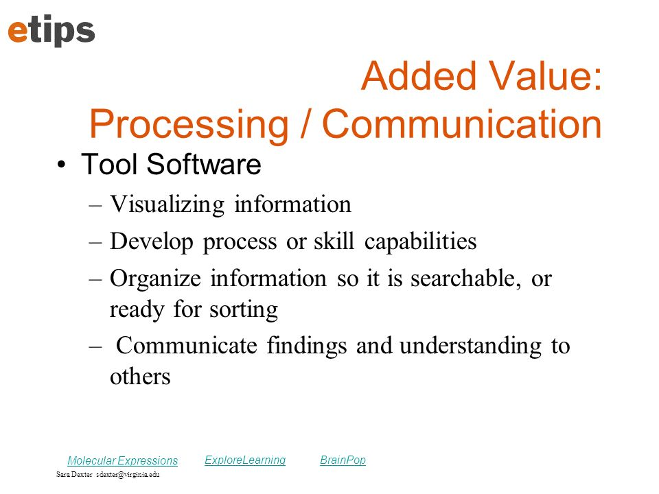 Added Value: Processing / Communication