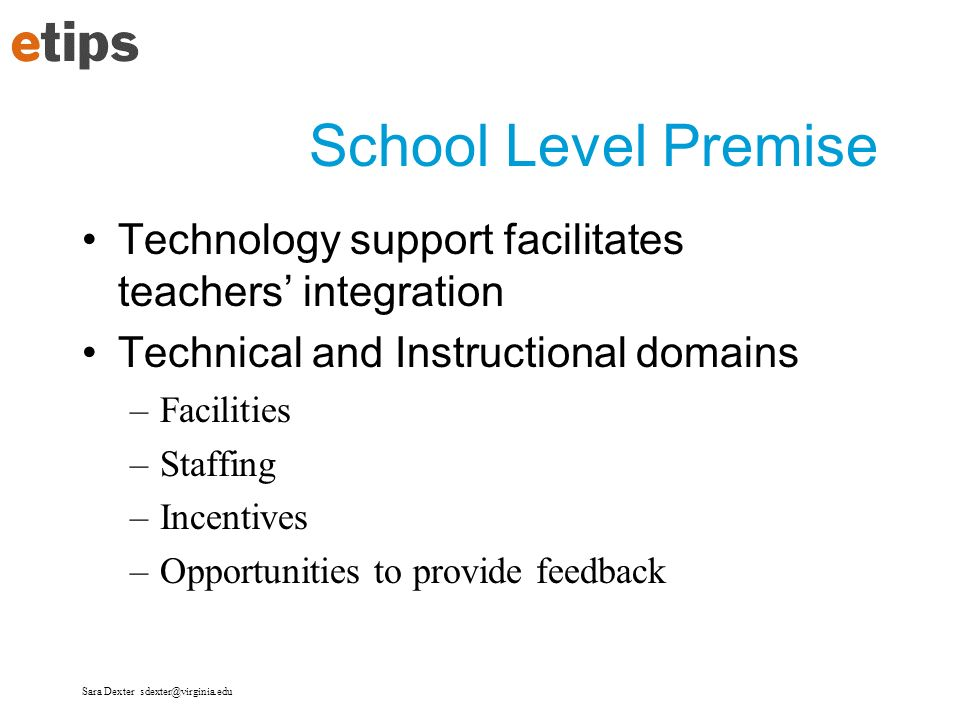 School Level Premise Technology support facilitates teachers' integration. Technical and Instructional domains.