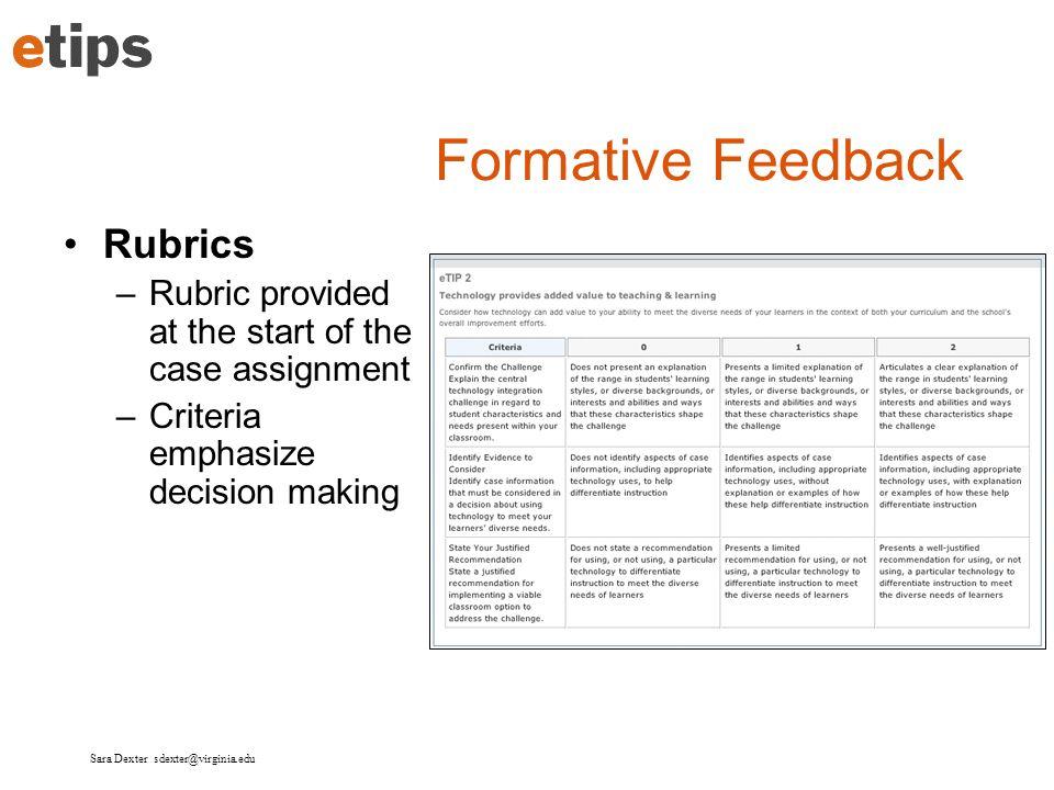 Formative Feedback Rubrics