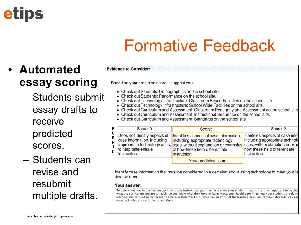 Formative Feedback Automated essay scoring
