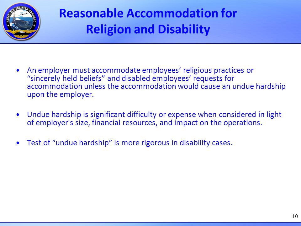 Reasonable Accommodation for Religion and Disability