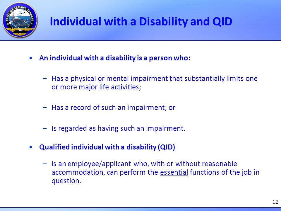 Individual with a Disability and QID