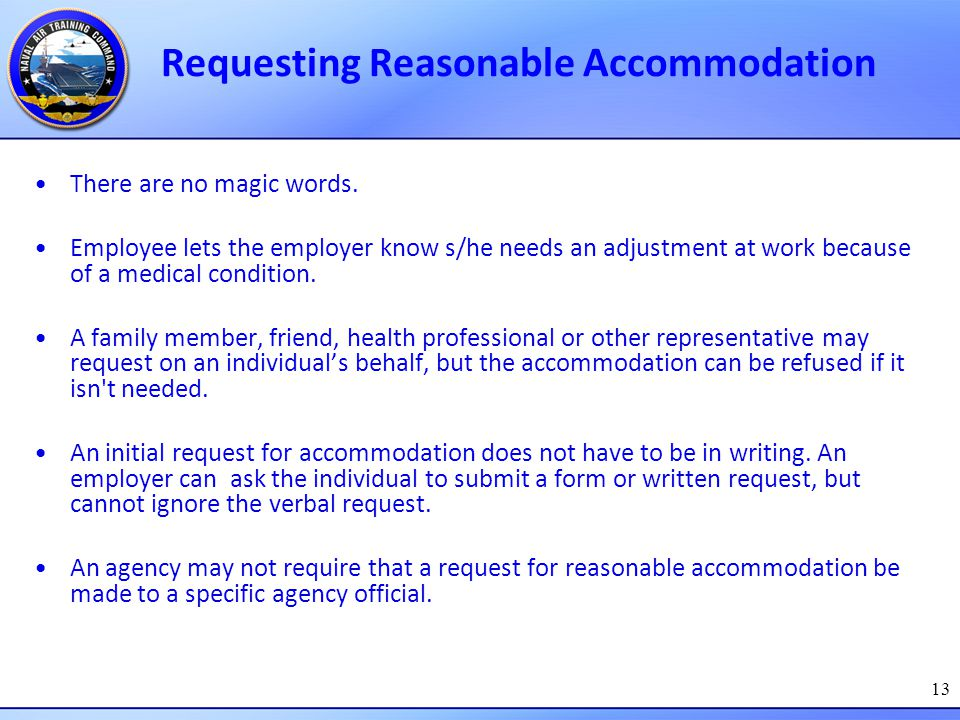 Requesting Reasonable Accommodation