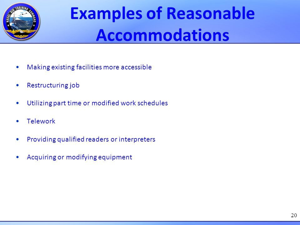 Examples of Reasonable Accommodations