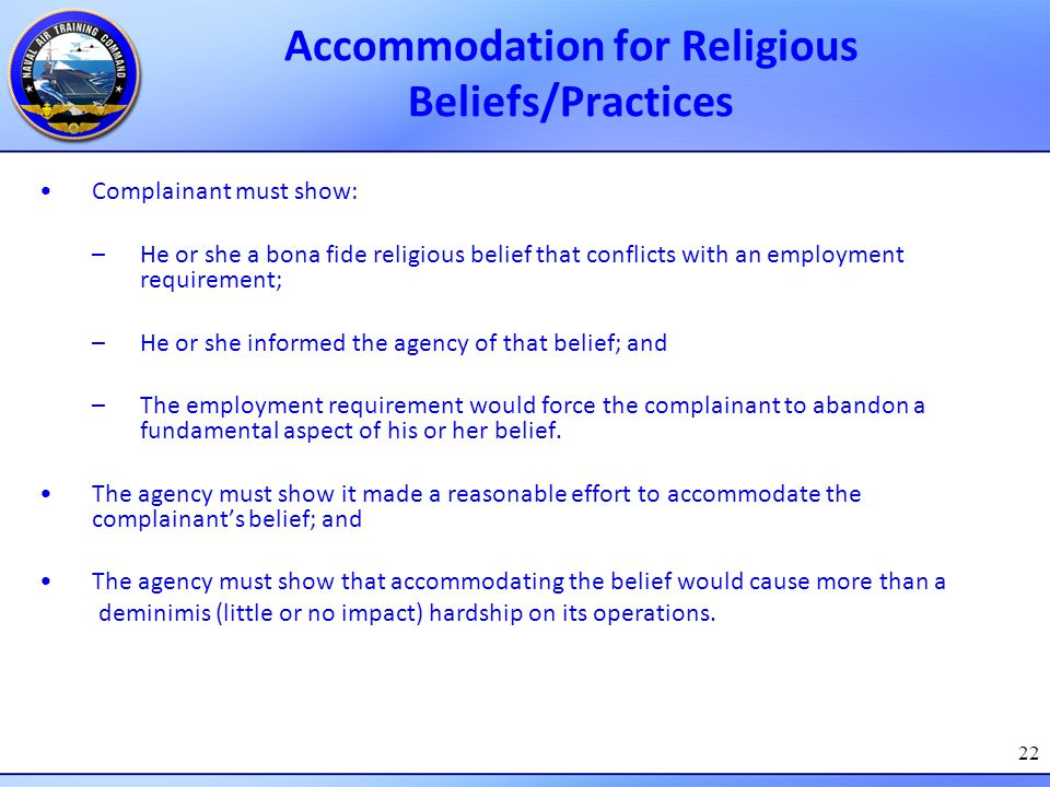 Accommodation for Religious Beliefs/Practices