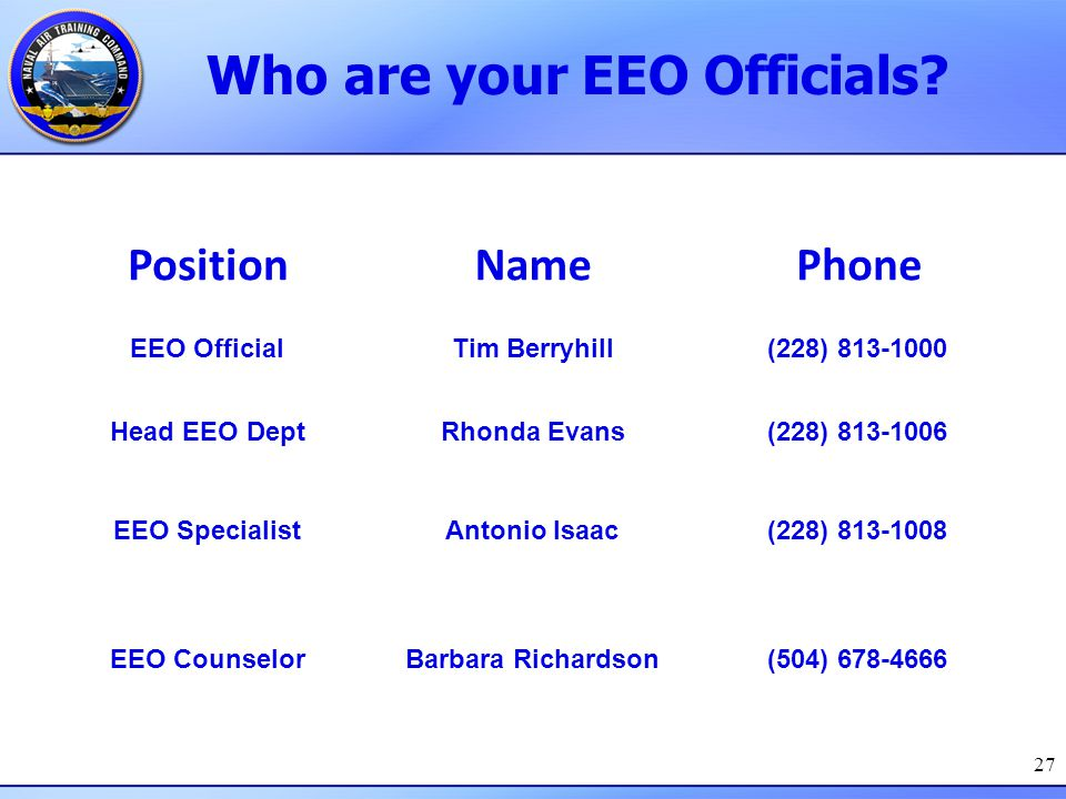 Who are your EEO Officials