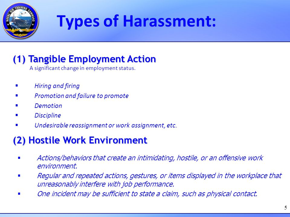 Types of Harassment: (1) Tangible Employment Action