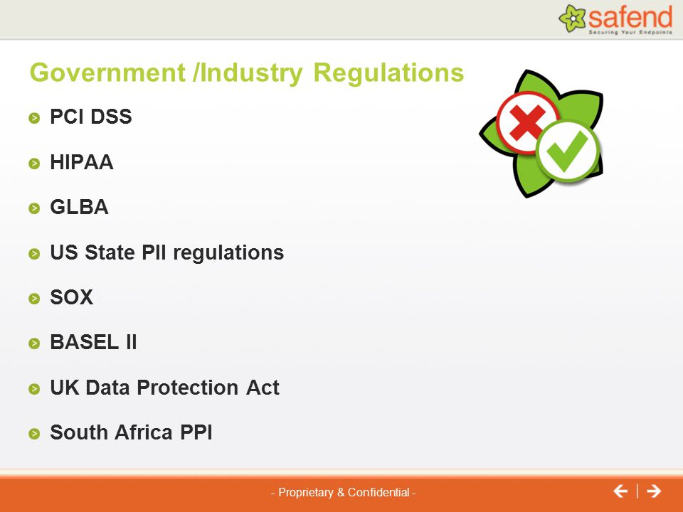 Government /Industry Regulations