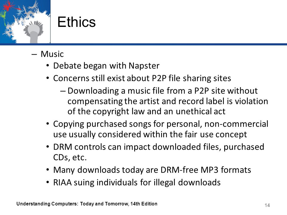 Ethics Music Debate began with Napster