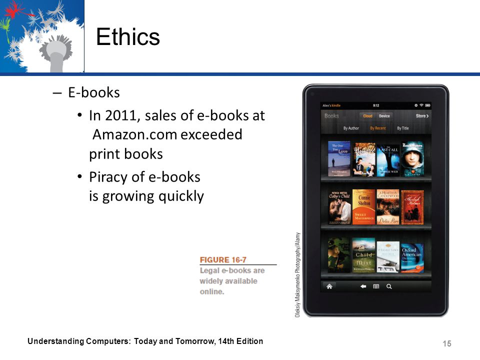 Ethics E-books. In 2011, sales of e-books at Amazon.com exceeded print books. Piracy of e-books is growing quickly.