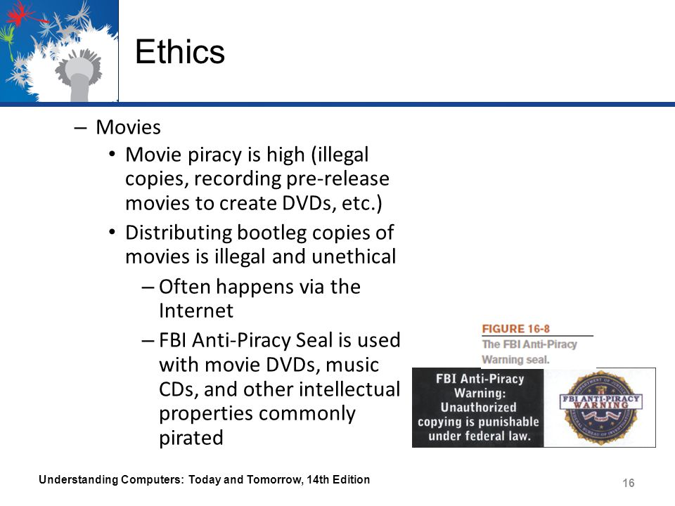 Ethics Movies. Movie piracy is high (illegal copies, recording pre-release movies to create DVDs, etc.)