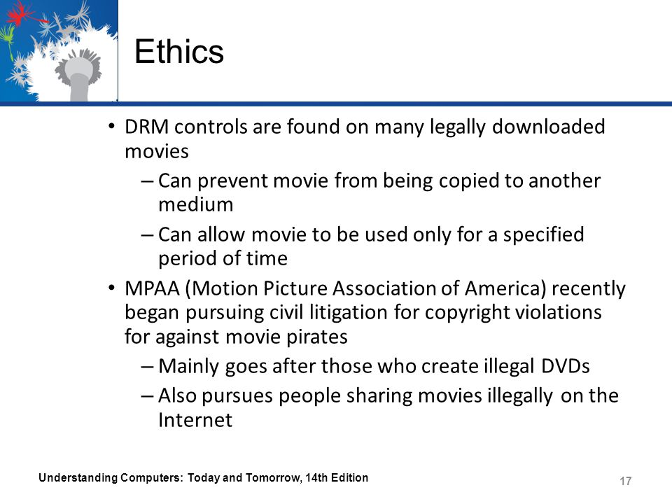 Ethics DRM controls are found on many legally downloaded movies