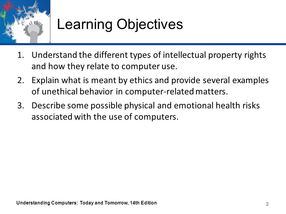 Learning Objectives Understand the different types of intellectual property rights and how they relate to computer use.