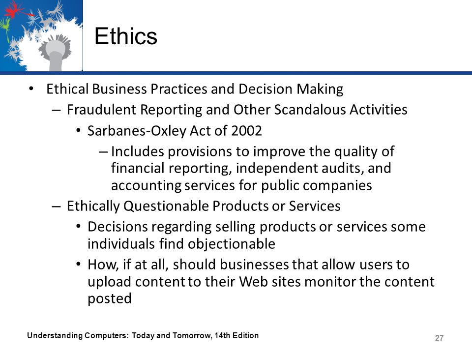 Ethics Ethical Business Practices and Decision Making