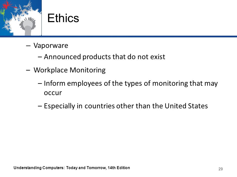 Ethics Vaporware Announced products that do not exist
