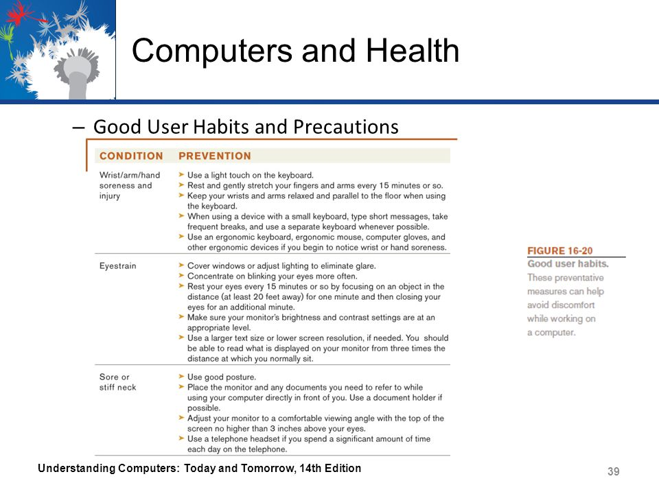 Computers and Health Good User Habits and Precautions