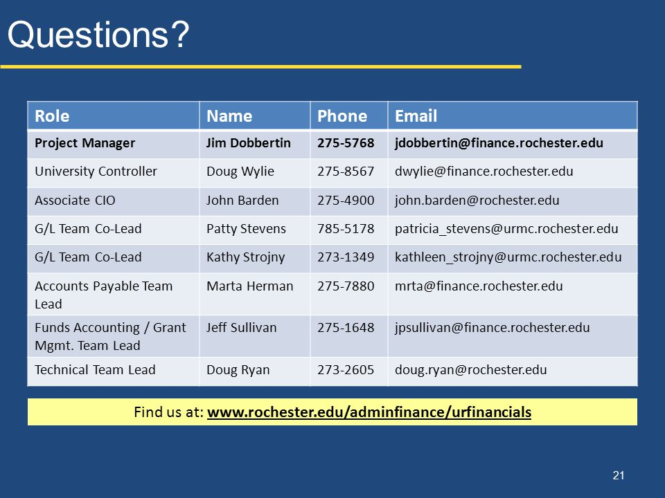 Find us at: www.rochester.edu/adminfinance/urfinancials