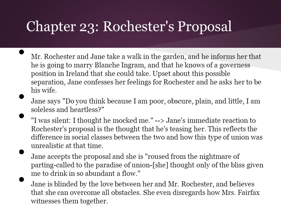 Chapter 23: Rochester s Proposal