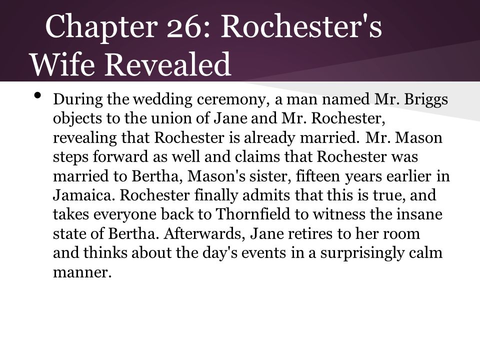 Chapter 26: Rochester s Wife Revealed