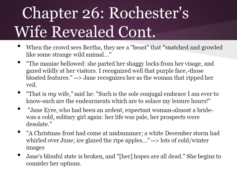 Chapter 26: Rochester s Wife Revealed Cont.