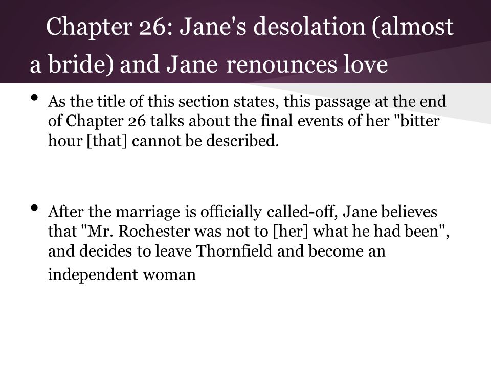 Chapter 26: Jane s desolation (almost a bride) and Jane renounces love