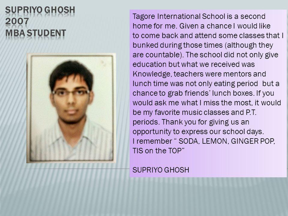 Supriyo Ghosh 20o7 MBA student