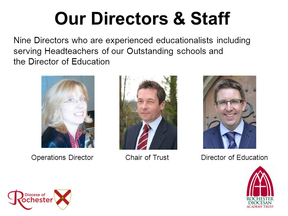 Our Directors & Staff Nine Directors who are experienced educationalists including. serving Headteachers of our Outstanding schools and.