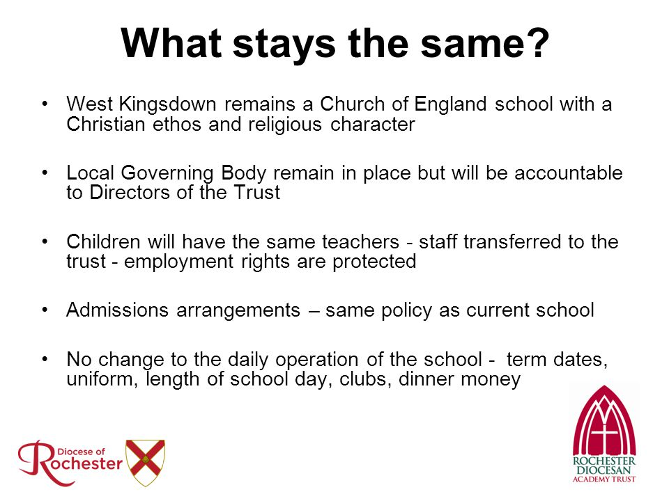 What stays the same West Kingsdown remains a Church of England school with a Christian ethos and religious character.