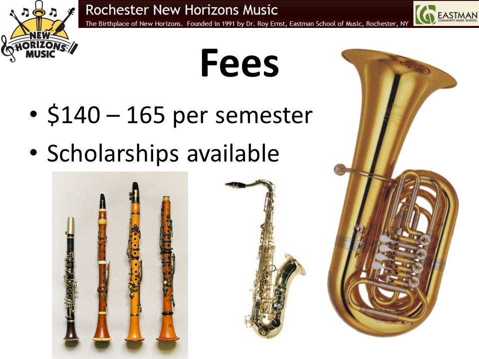 Fees $140 – 165 per semester Scholarships available