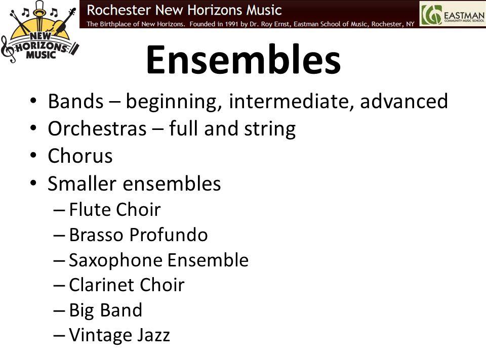 Ensembles Bands – beginning, intermediate, advanced