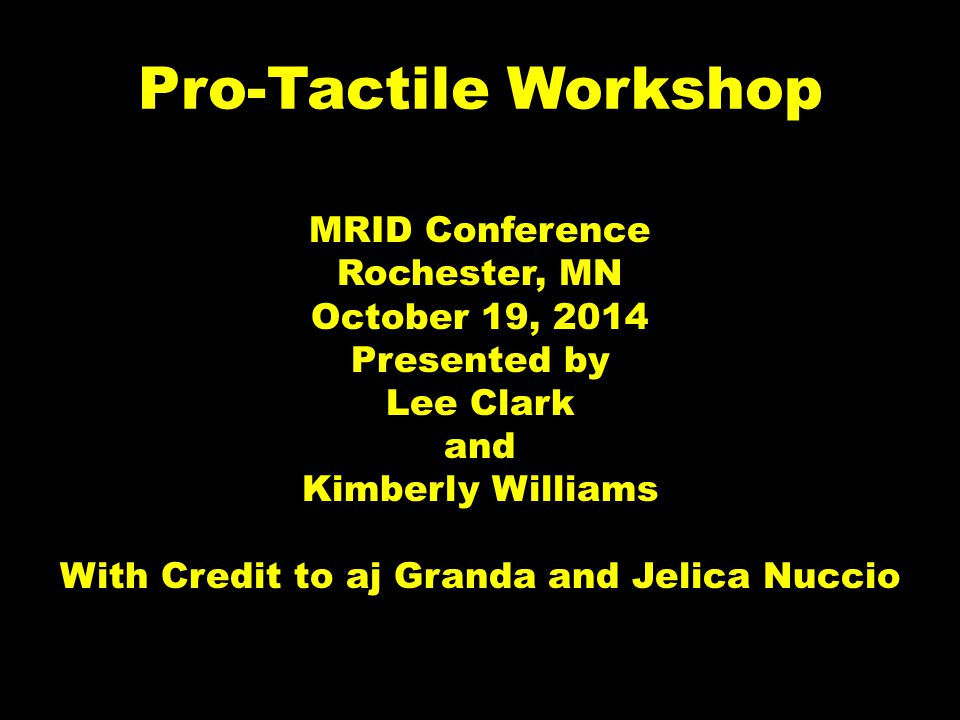 Pro-Tactile Workshop