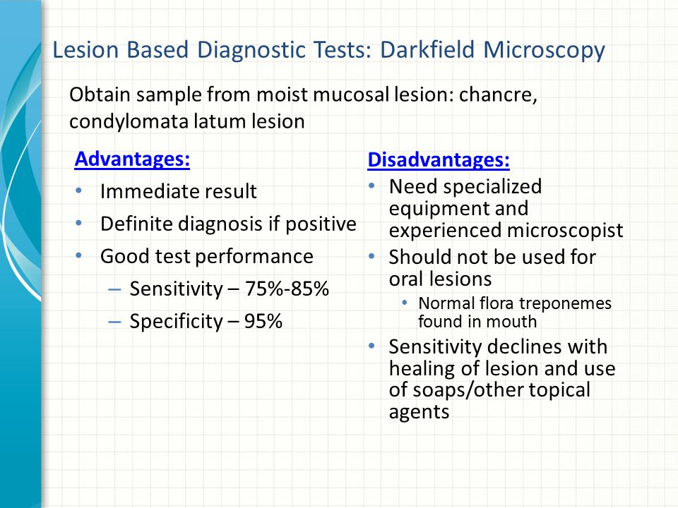 Lesion Based Diagnostic Tests: Darkfield Microscopy
