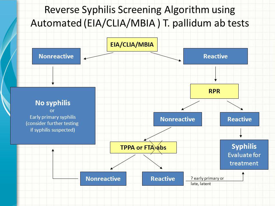 Reverse Syphilis Screening Algorithm using Automated (EIA/CLIA/MBIA ) T. pallidum ab tests