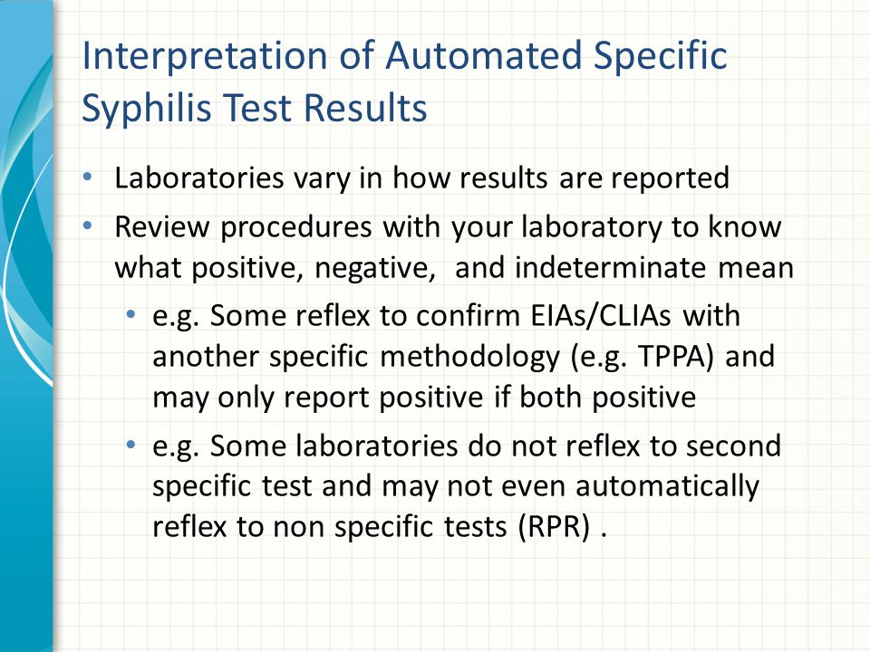 Interpretation of Automated Specific Syphilis Test Results