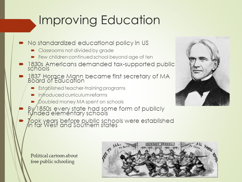 Improving Education No standardized educational policy in US
