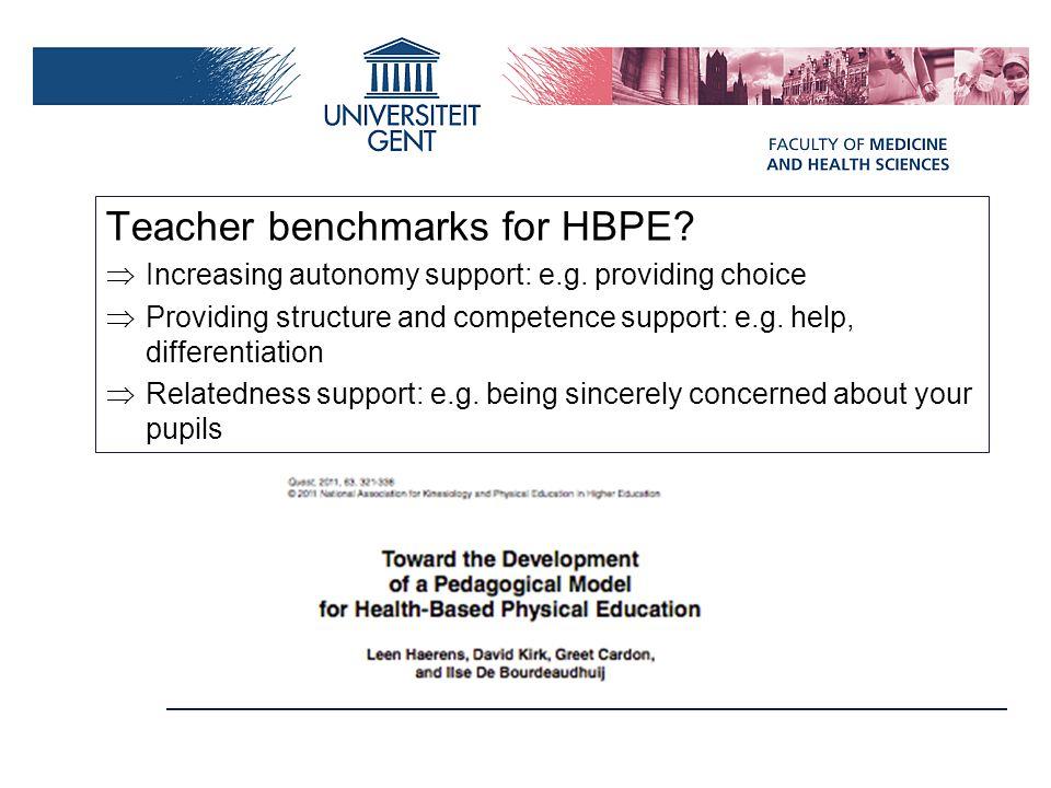 Teacher benchmarks for HBPE