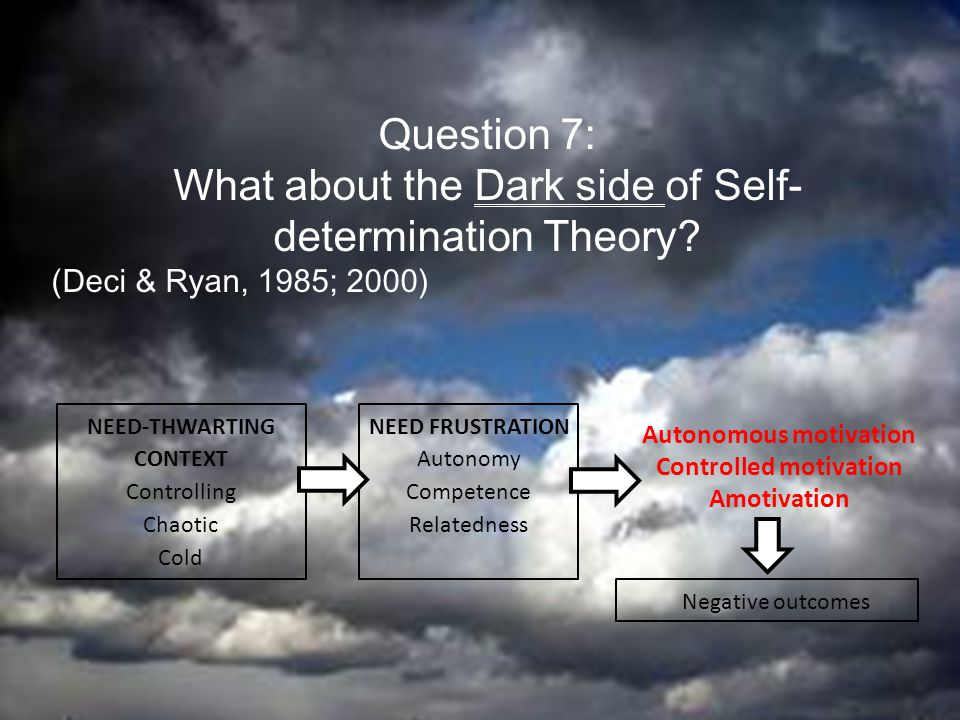 effects of autonomy on motivation Self-determination theory was used to derive a model in which autonomy  orientation  implications for how prosocial behavior can be motivated are  discussed.