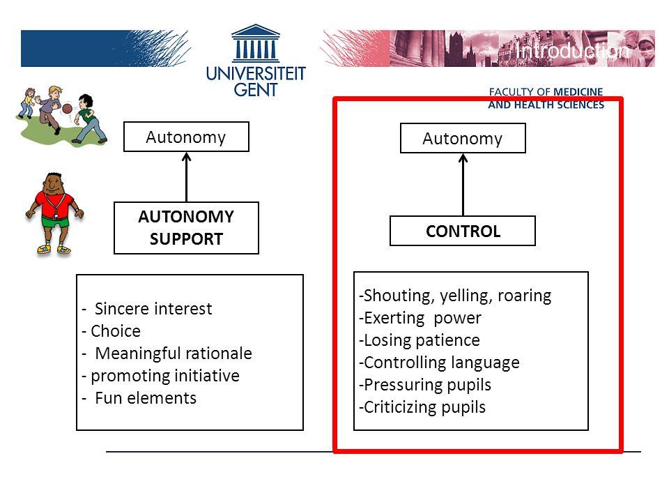 Introduction Autonomy Autonomy AUTONOMY SUPPORT CONTROL