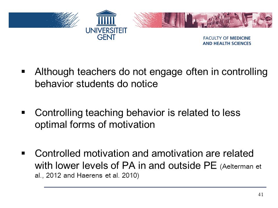 Although teachers do not engage often in controlling behavior students do notice