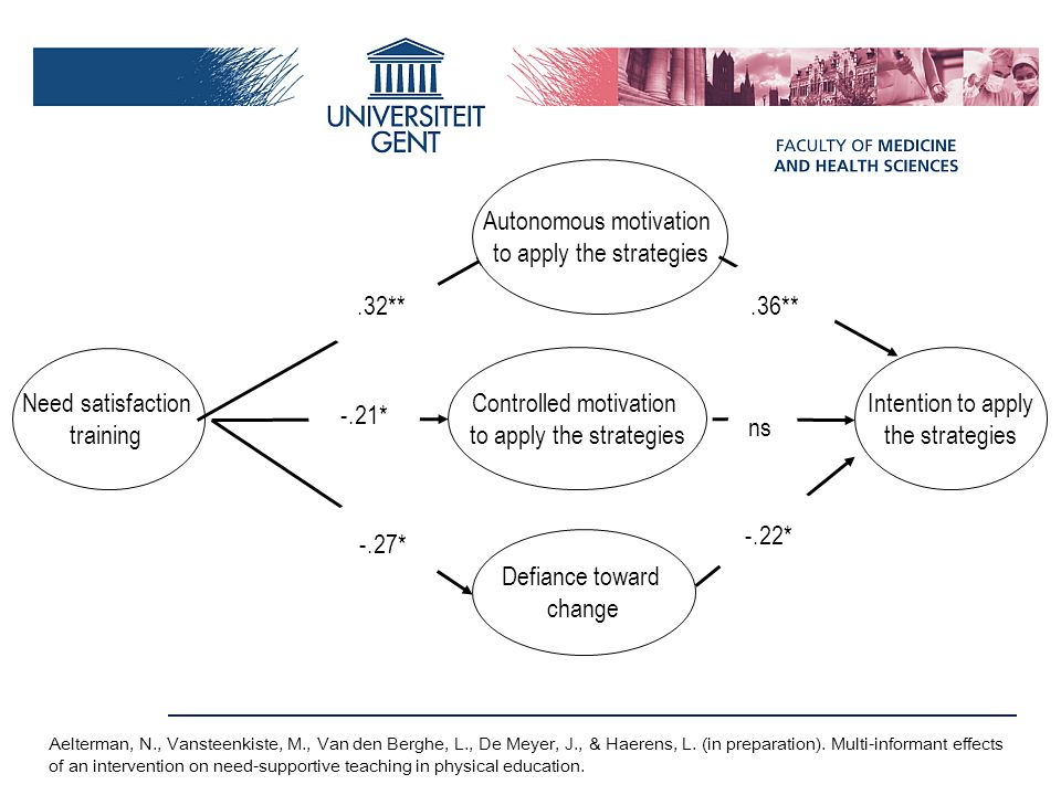Autonomous motivation to apply the strategies