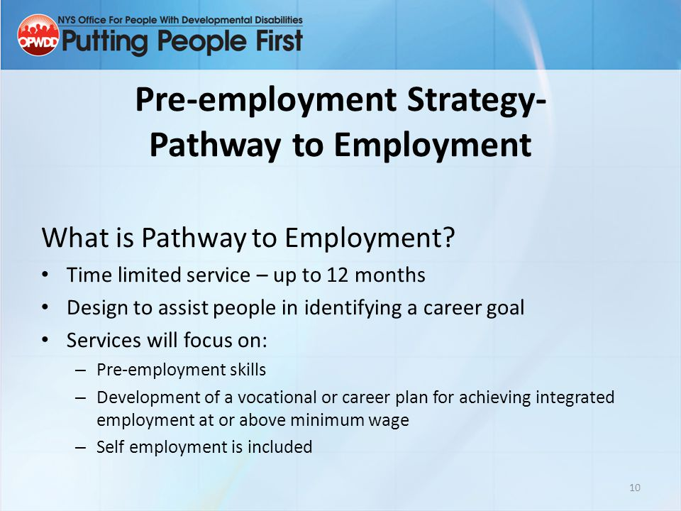 Pre-employment Strategy- Pathway to Employment