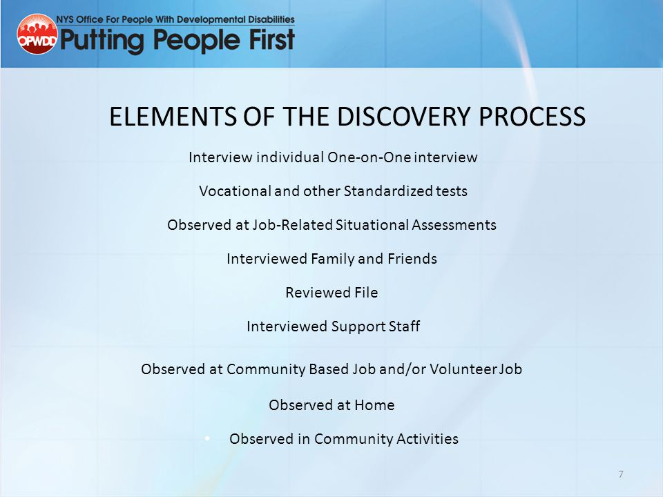 ELEMENTS OF THE DISCOVERY PROCESS